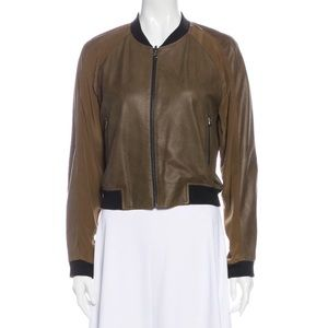 Faith Connexion Reversible Leather Bomber Jacket Brown & Gold Large NWT